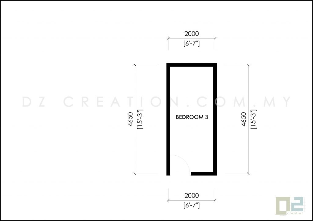 luas bilik 2 meter x 4.65 meter ubbl 1984